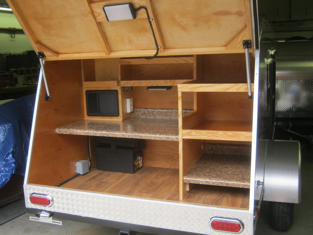 Custom built retro ride teardrop campers gallery for Wooden camp kitchen designs