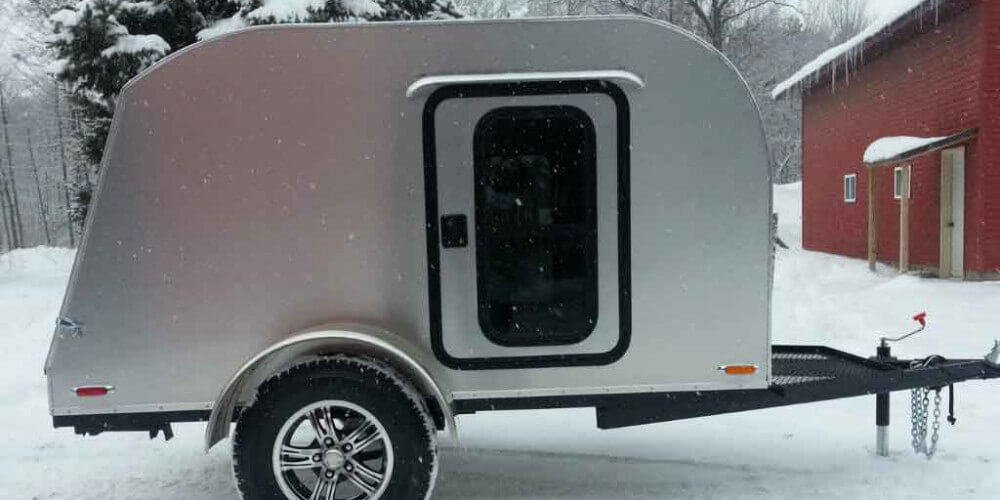 New 5x8 teardrop camper in the snow